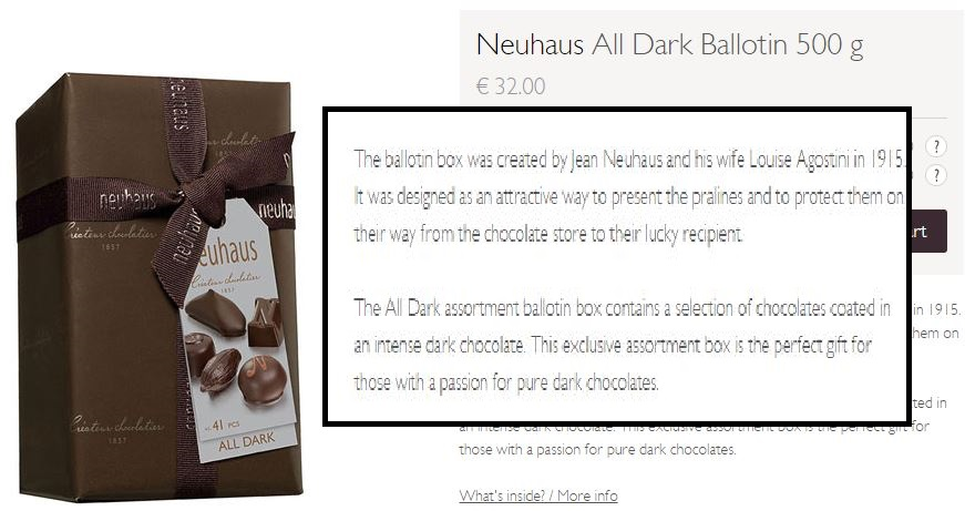 Neuhaus chocolate product description