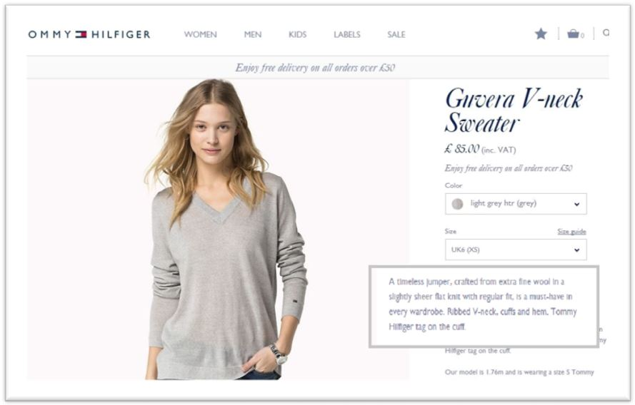 Tommy Hilfiger how to write product description