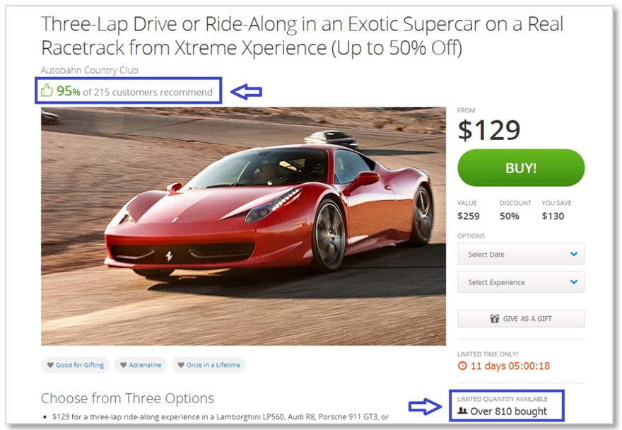 groupon social proof ecommerce for high conversion rate