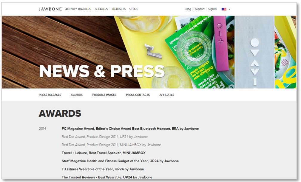 jawbone award social proof ecommerce conversion rates