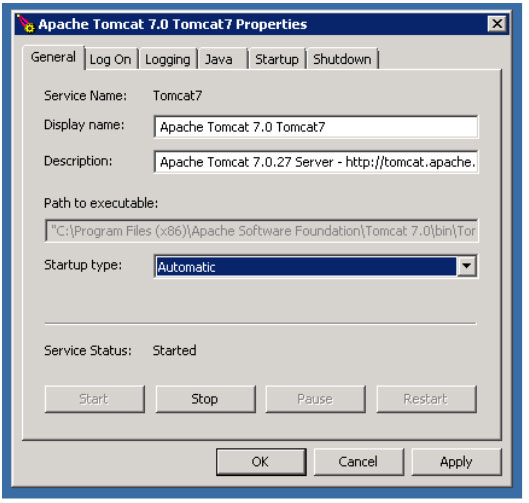 Setting Apache Tomcat to Start Automatic on Windows Start on Windows Server 2008 R2 for installing Solr