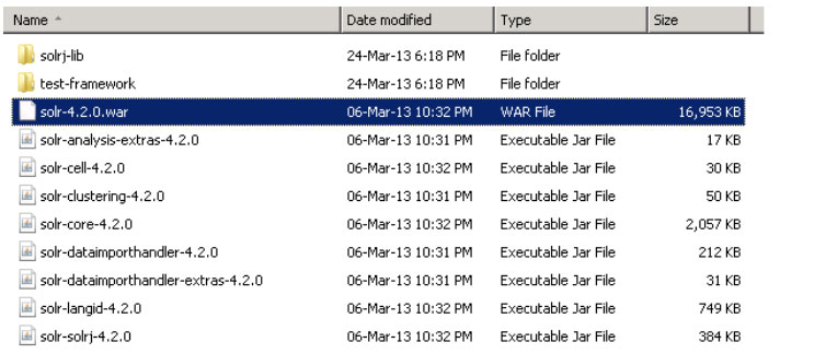 Locate Solr War File while installing Apache Solr on Windows Server 2008 R2