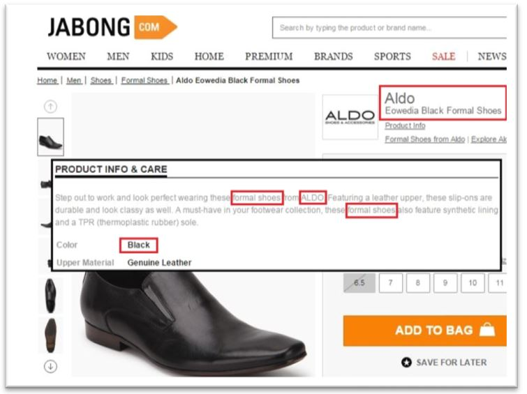 Jabong eCommerce product description