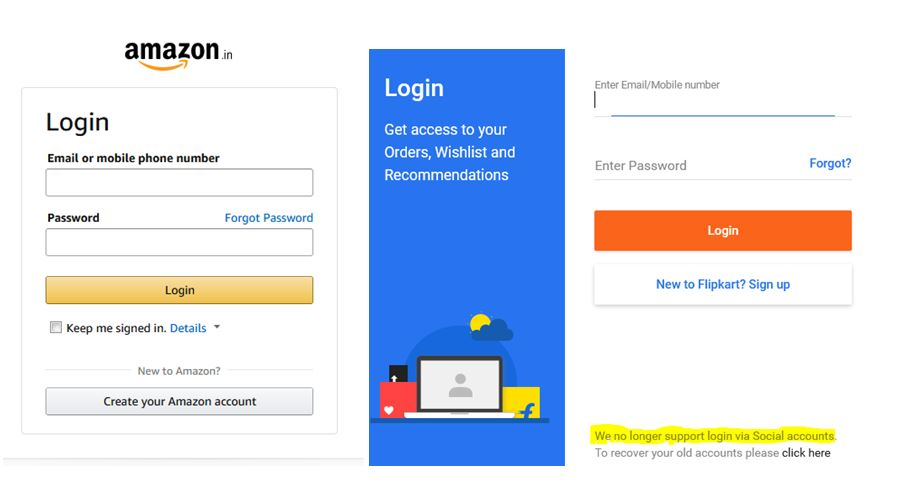 Amazon Flipkart Pros and Cons of Facebook Social Login on ecommerce Website