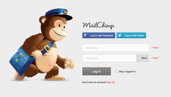 Cons of Facebook Social Login on ecommerce Website mailchimp example