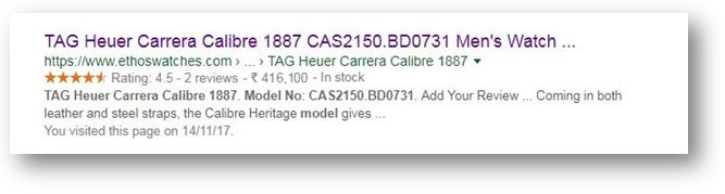 How to use Schema Markup on your ecommerce website - Google search result page SERP