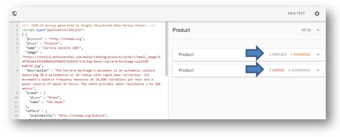 How to use Schema Markup on your ecommerce website - google Structured Data Testing Tool error