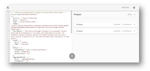 How to use Schema Markup on your ecommerce website - google Structured Data Testing Tool result