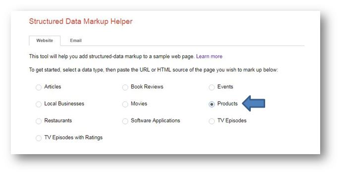 How to use Schema Markup on your ecommerce website - google structured markup tool select data type product