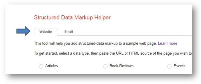 How to use Schema Markup on your ecommerce website - google structured markup tool select webite tab