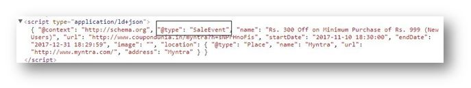 Schema Markup for ecommerce website - type salesevent