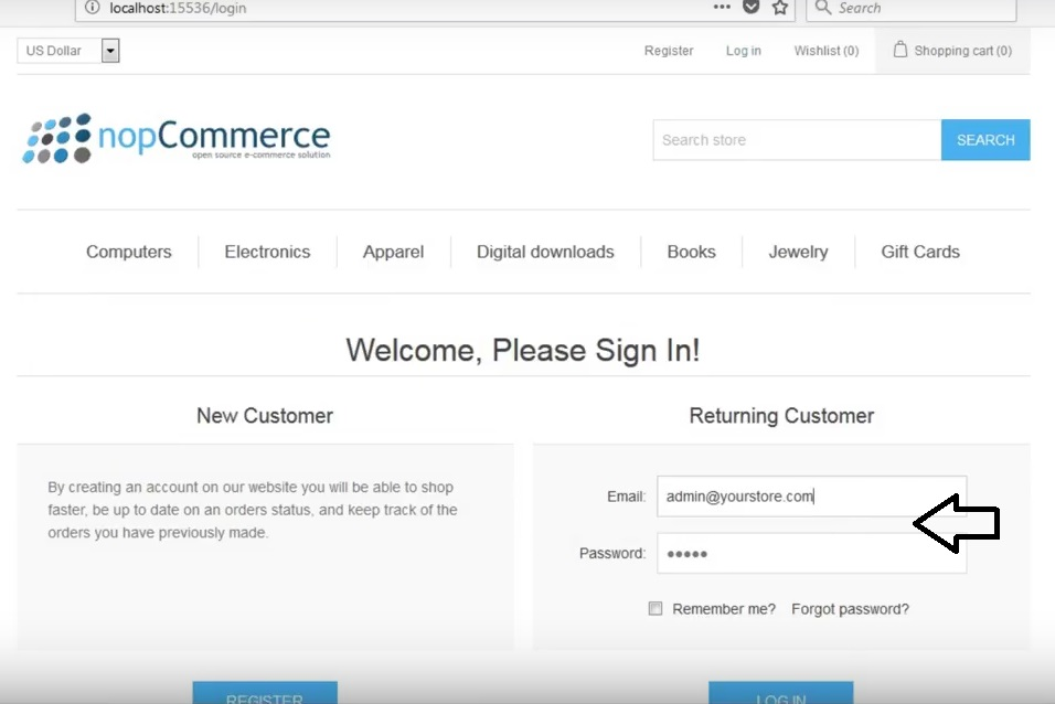 how to access admin account in nopcommerce - login