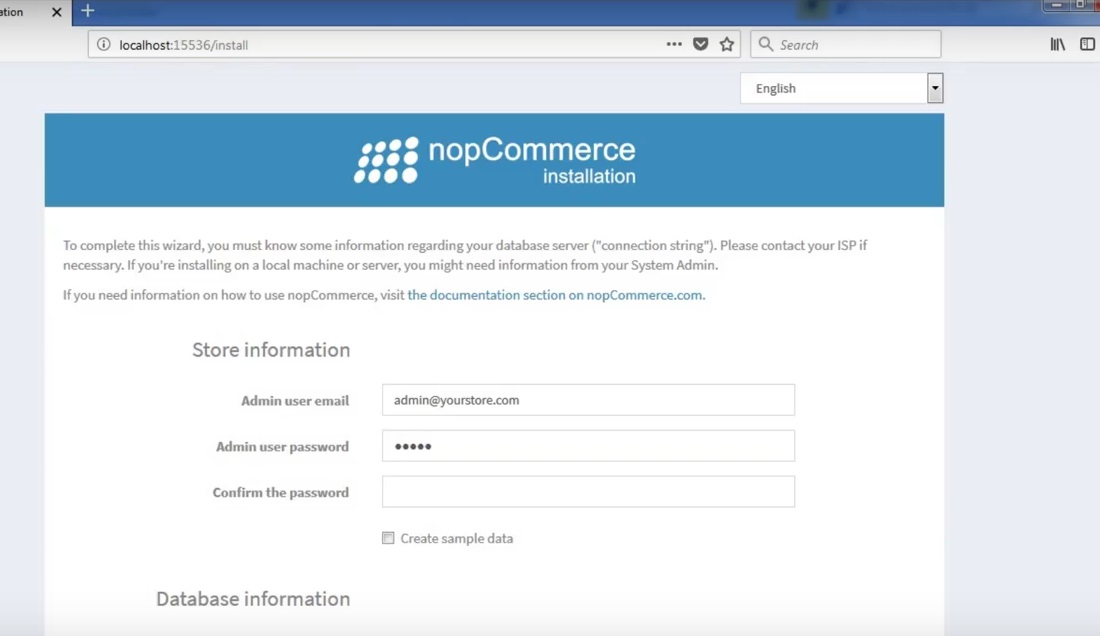 how to install nopcommerce - installation screen